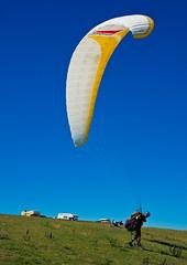 Hang glider landing on beachy head