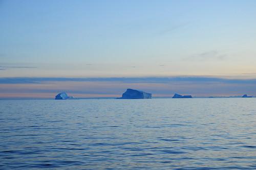 ocean sea work evening september greenland icebergs
