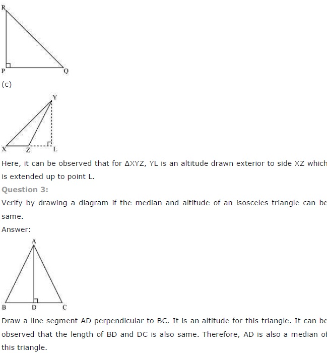NCERT Solutions for Class 7th Maths Chapter 6 The-Triangle-and-its-Properties Exercise 6.1