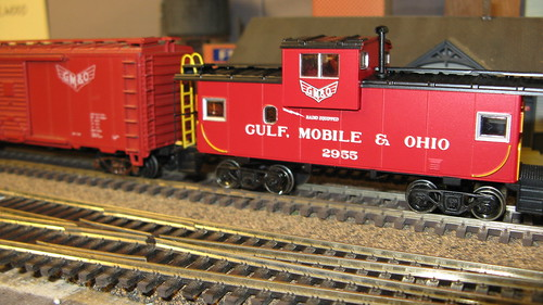 Gulf, Mobile & Ohio red box car and caboose. by Eddie from Chicago