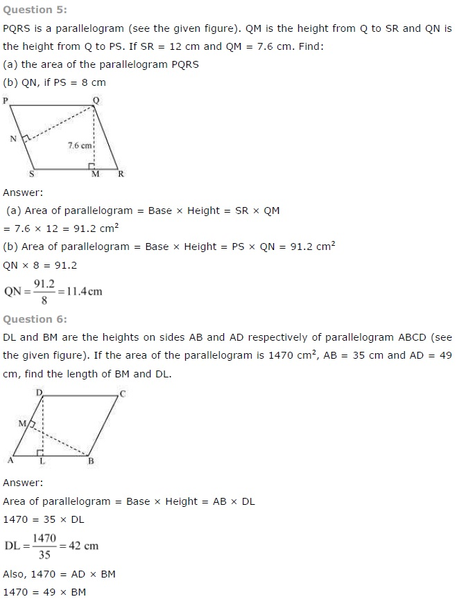 NCERT Solutions for Class 7 Maths Chapter 11 Perimeter and Area Exercise 11.2