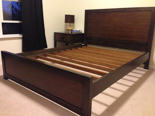 crate and barrel bed and nightstand - anyone need a fancy bed