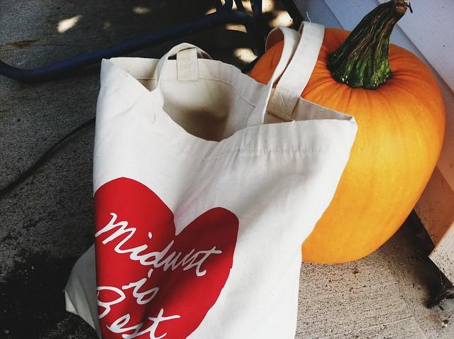 midwest, tote bag, midwest tote bag, pumpkin
