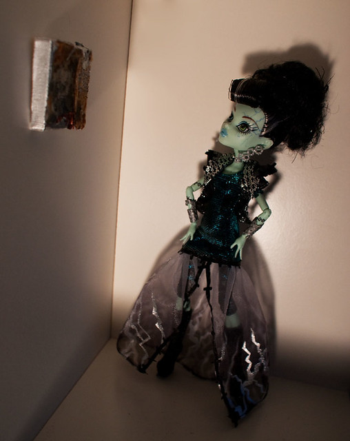 mini paintings made with recycled acrylic paint skins; Monster High Frankie Stein doll