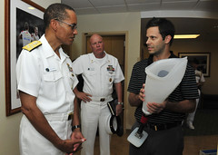 Official U.S. Navy file photo of Pacific Fleet Commander Adm. Cecil D. Haney, and Pacific Fleet Master Chief John Minyard, center, during a visit to the Naval Medical Center San Diego's (NMCSD) Comprehensive Combat and Complex Casualty Care Facility. Haney announced March 22 that Command Master Chief Marco Ramirez was selected to replace Minyard, who is retiring. (U.S. Navy photo by Mass Communication Specialist 3rd Class Clay M. Whaley)