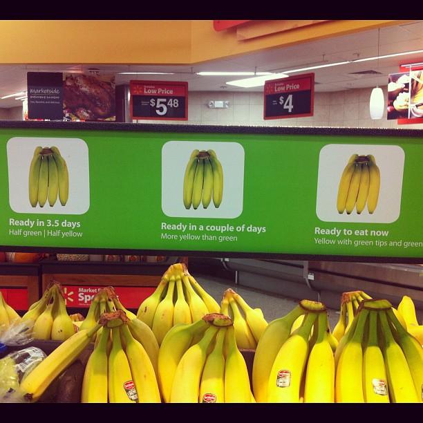 Объяснялка, какие бананы уже спелые и можно есть сейчас, а какие нужно выдержать 3-5 дней.