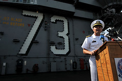 Capt. Greg Fenton, USS George Washington's commanding officer, answers questions from local media after arriving in Port Klang, Malaysia, Oct. 7. (U.S. Navy photo by Chief Mass Communication Specialist Jennifer A. Villalovos)