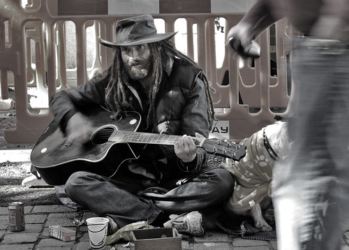 street portrait music dog motion blur hat dreadlocks mono movement guitar pavement streetphotography forgotten barrier busker peterborough vagrant ignored markcoleman supershot mac010665yahoocouk