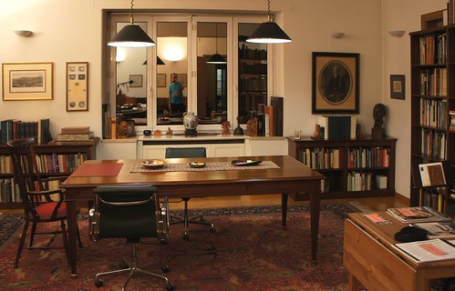 Paper, Numismatic Library of BCD, Athens, Reading Room with blue-t-shirted photographer in the window