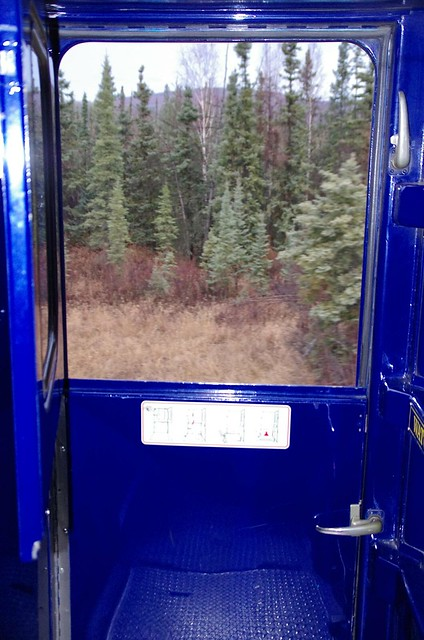 Top of carriage door open - Alaska Railroad Aurora Winter Train