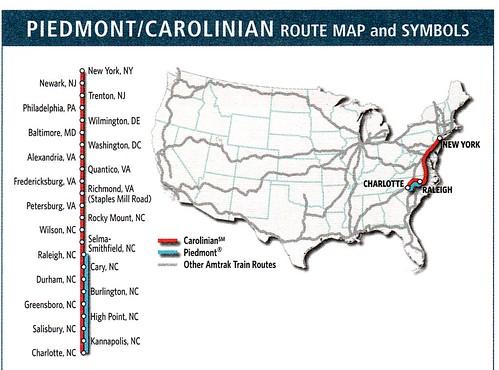 Amtrak Carolinian 2011 Map