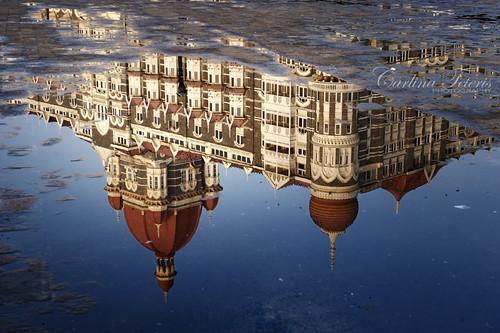 morning india reflection building architecture sunrise puddle pavement maharashtra mumbai tajhotel colaba 2470mm28 nikond700