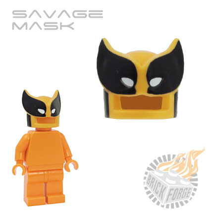 Savage Mask - Bright Light Orange (black & white print)