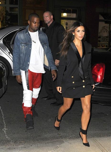 Kim-Kardashian-balmain-black-doublebreasted-wooltwill-dress-gianvito-rossi-gold-ankle-wrap-pumps-Kanye-West-Maison-Martin-Margiela-MMM-Leather-Biker-Pants-MMM-sneaker-velcro-upscalehype-1