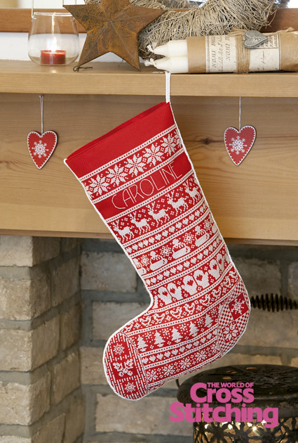 Scandinavian Style Christmas Stocking Cross Stitch Design
