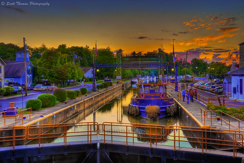 trees sunset summer people newyork reflection water clouds buildings boats canal village dusk central cny railings barge hdr baldwinsville photomatix senecariver lock24 yourphototips scottthomasphotography onondagacountry afsnikkor28300mmf3556gedvr tugboatsyracuse