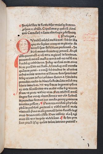 Decorated initial in Adrianus Carthusiensis: De remediis utriusque fortunae