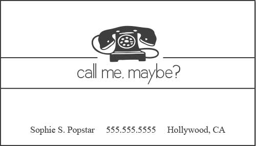 Black and White Call Me Maybe Cards