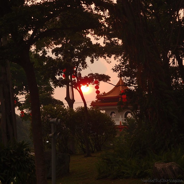 chinese garden sunset pagoda