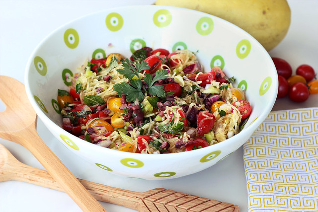Mediterranean Spaghetti Squash Salad - Gluten-free + Vegan