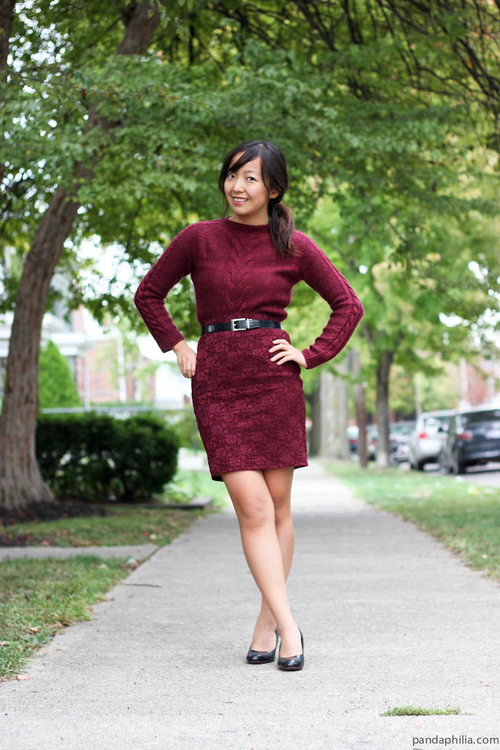 burgundy work outfit