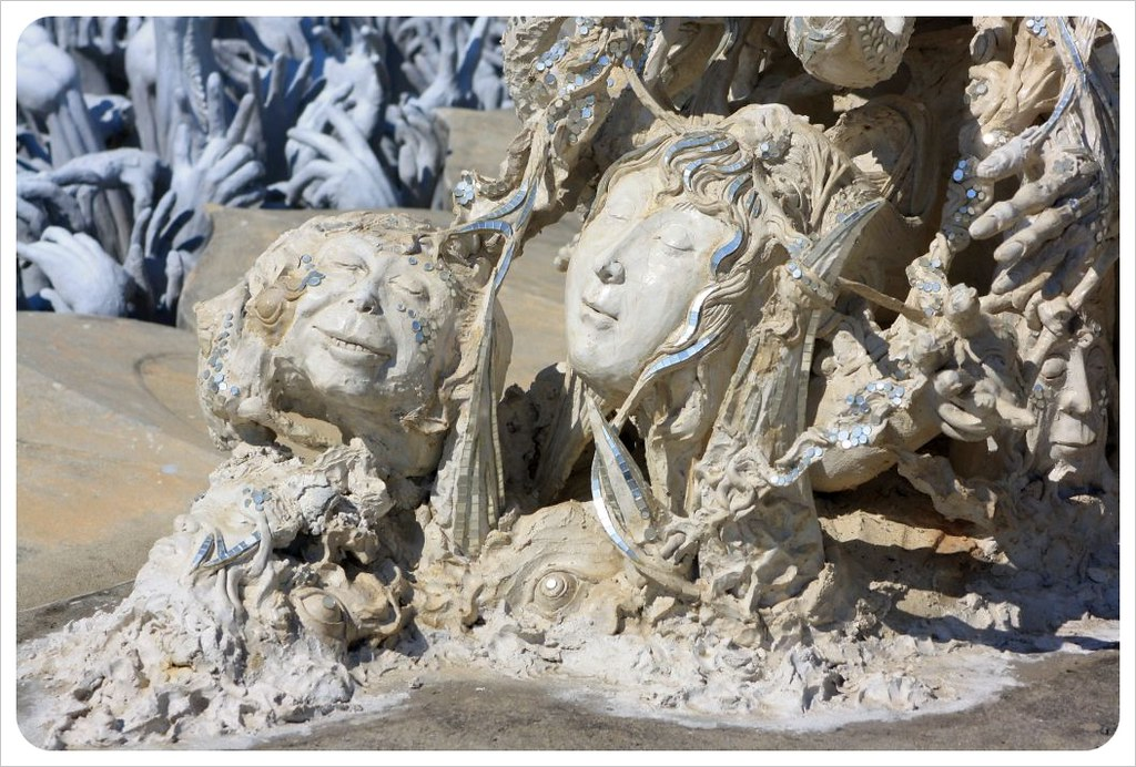 white temple art sculptures