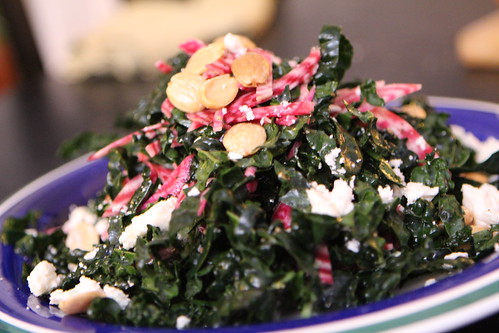 Kale and Chiogga Beet Salad with Marcona Almonds and Feta