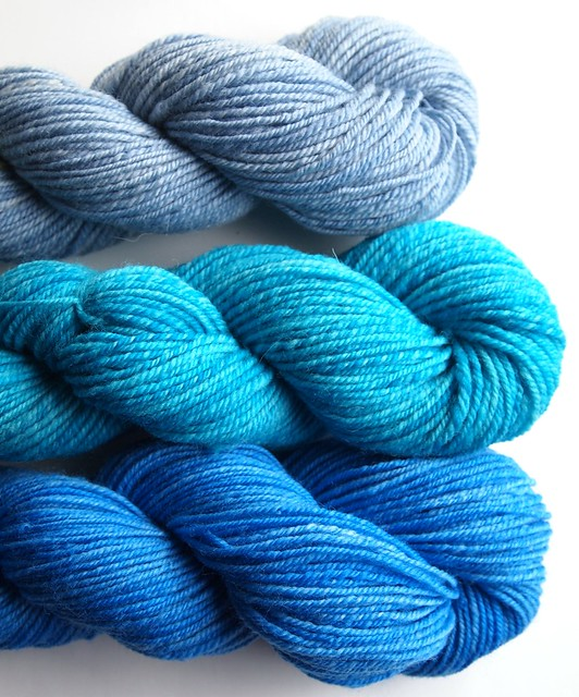 FatCatKnits-semi solids- 2oz each-Periwinkle-Turquoise-Persian Blue