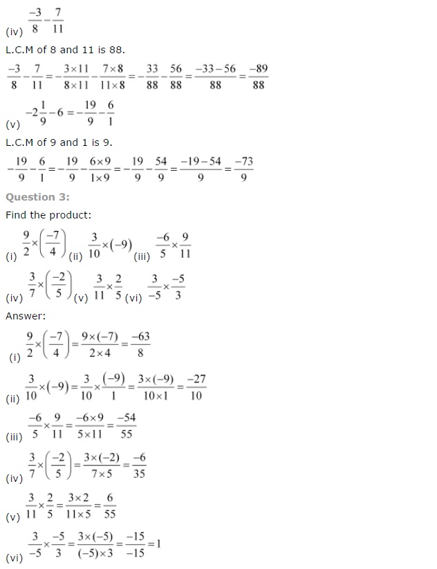 NCERT Solutions for Class 7 Maths Chapter 9 – Rational Numbers ...