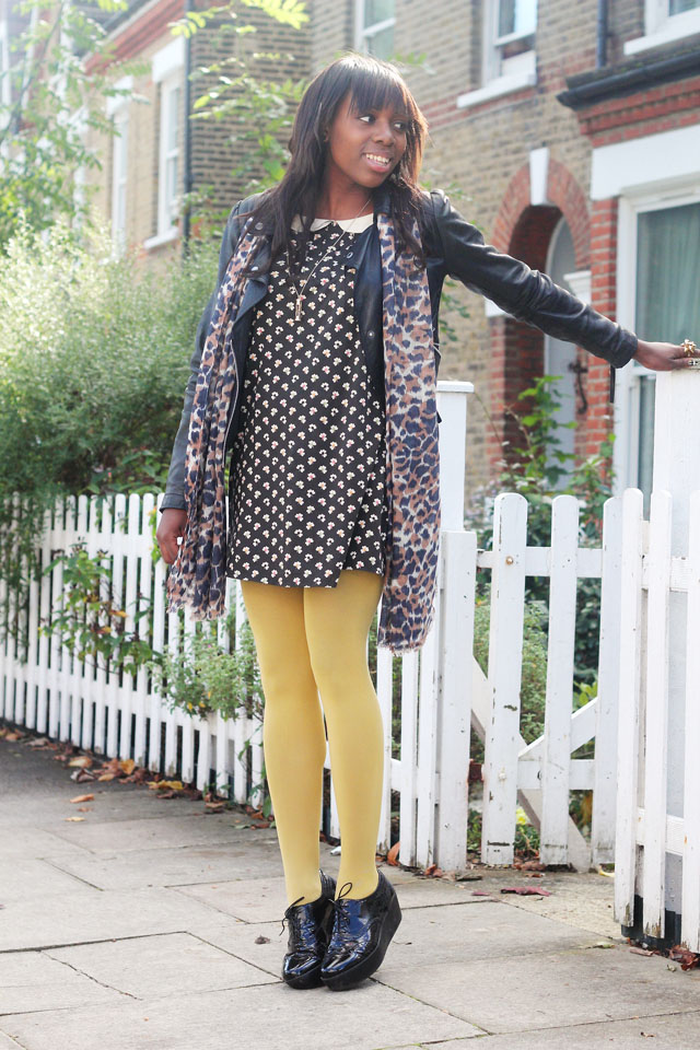 Orla Kiely x Uniqlo peter pan collar dress mustard tights Vagabond flatforms