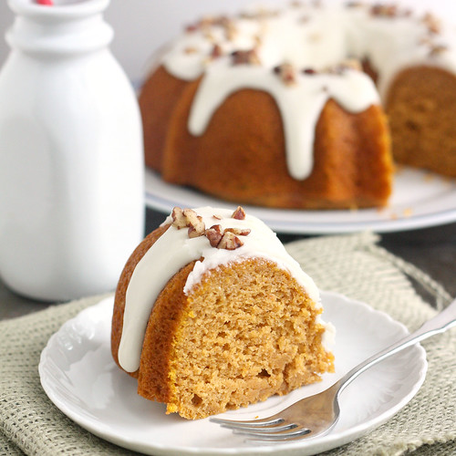 Pumpkin Spice Bundt Cake with Bourbon Cream Cheese Glaze
