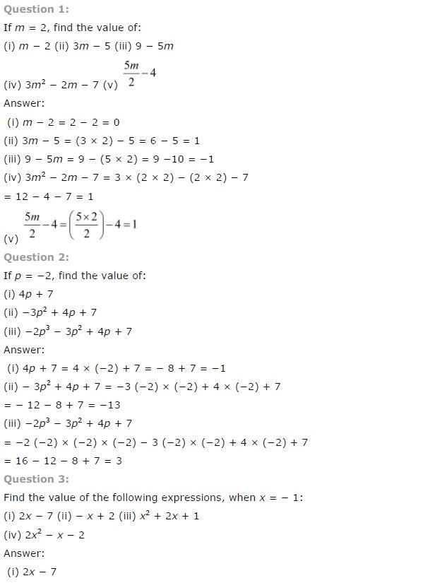 NCERT Solutions for Class 7th Maths Chapter 12 Algebraic – Grade 7 Math Worksheets Algebra