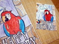 gezeichnete Geburtstagskarte und Ausdruck (Postkarte)