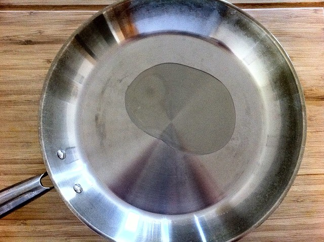 1 Tablespoon Olive Oil in Large Stainless Steel Pan