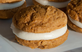 Pumpkin Spiced Whoopie Pies with Maple Mascarpone Filling from Fact Woman