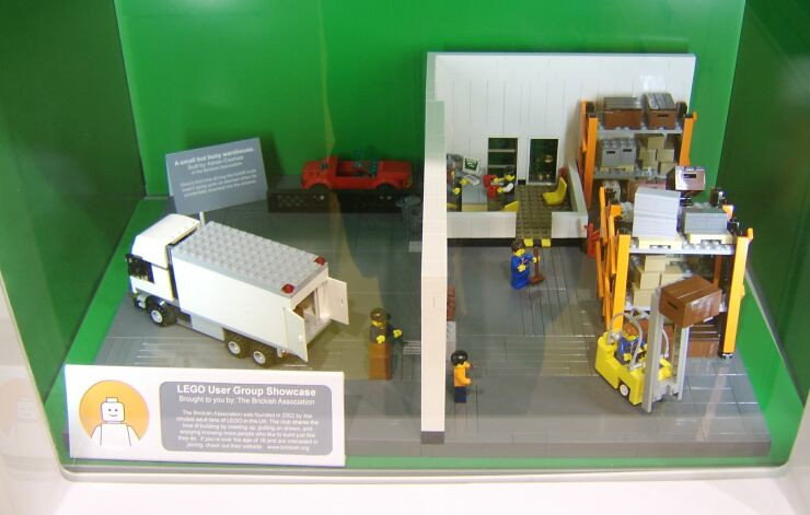 My warehouse model on display in the Cardiff LEGO® Brand store's LEGO® User Group (LUG) Showcase cabinet