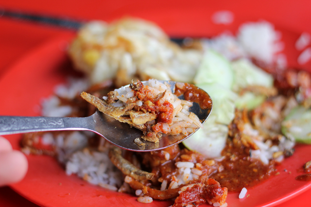 Crispy anchovies mingled with rice and chili sauce
