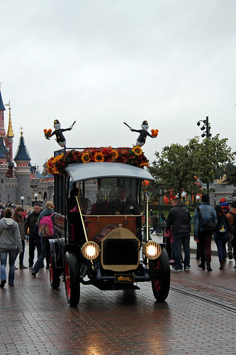 The paddy wagon decorated for Halloween