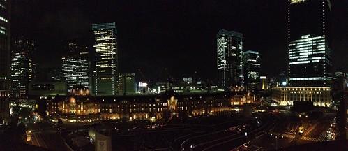 Tokyo Station Marunouchi building Panorama at night