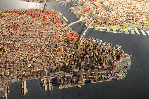 Queens Museum of Art | The Panorama of the City of New York | overview of lower Manhattan from the west, including the twin towers of the World Trade Center, the Brooklyn & Manhattan Bridges, some of Brooklyn & Roosevelt Island, etc