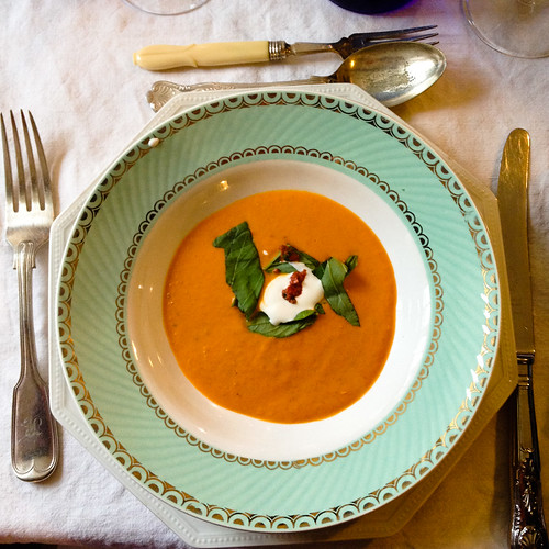 Roasted red pepper soup with harissa