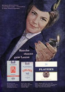 Virginia Players (1964) Zigaretten: P&S / Virginia No. 6 / Medium Navy Cut - SOUTH AFRICAN AIRWAYS