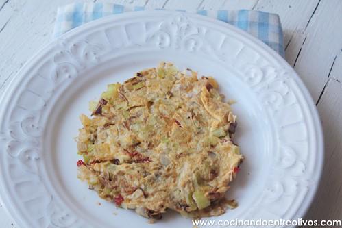 Tortilla de puerros y patata Prodieta