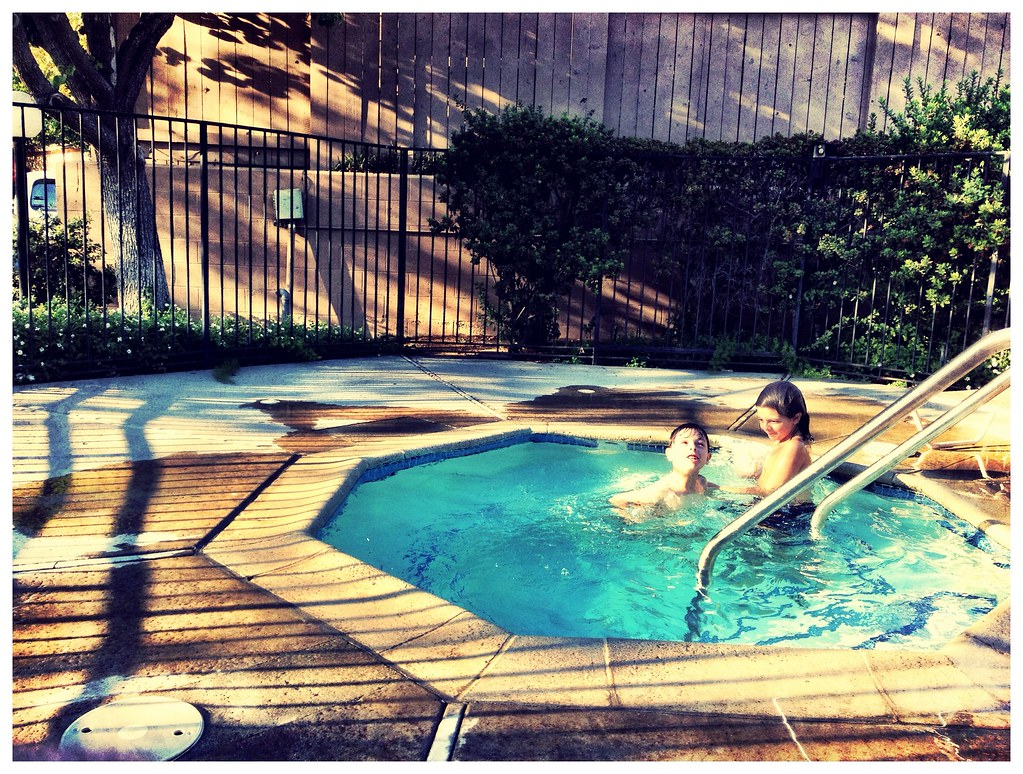 a swim in the jacuzzi