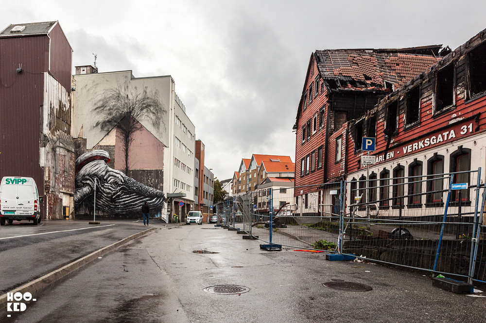 ROA, Whale Mural in Stavanger, Norway. Photo ©Mark Rigney / Hookedblog