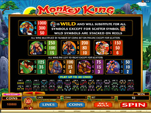 Monkey King Slots Payout