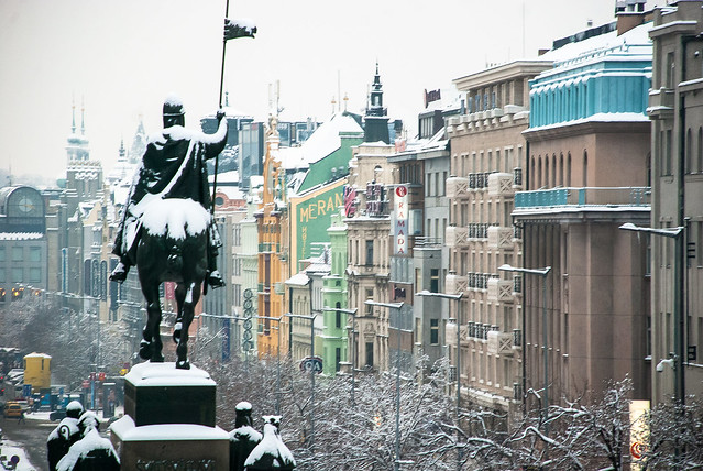 Snow in Wenceslas Square