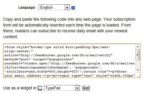 Hướng dẫn gửi bản tin đặc biệt qua email với Feedburner 224