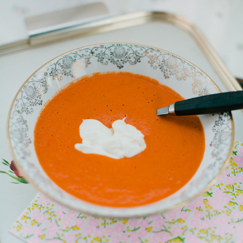 creamy red curry tomato soup.