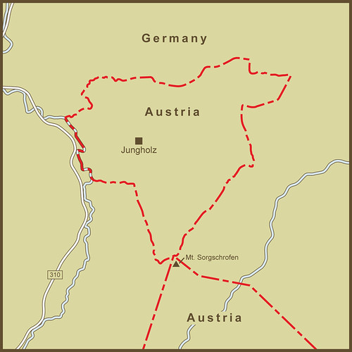 A Map of the Strange Border and Banking Policies Between Austria and Germany around Jungholz by amproehl